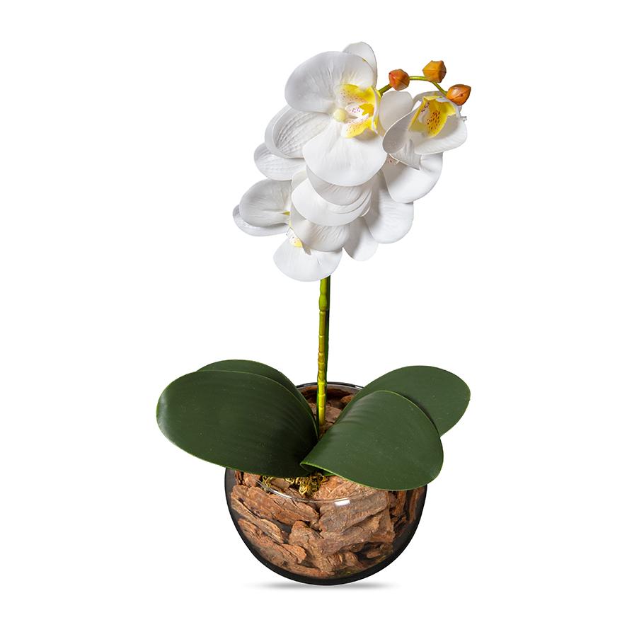Orquídea Branca Artificial Arranjo no Vaso Transparente Flores Permanentes