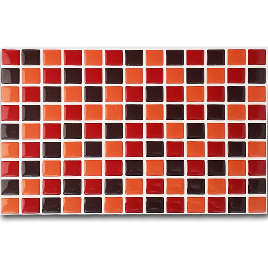 Pastilha Adesiva Resinada Mosaico Vermelho X Laranja X Marrom Fundo Branco