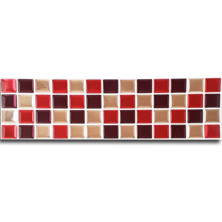 Pastilha Adesiva Mosaico Faixa 8,8cm Vermelho X Espelhado Fundo Branco