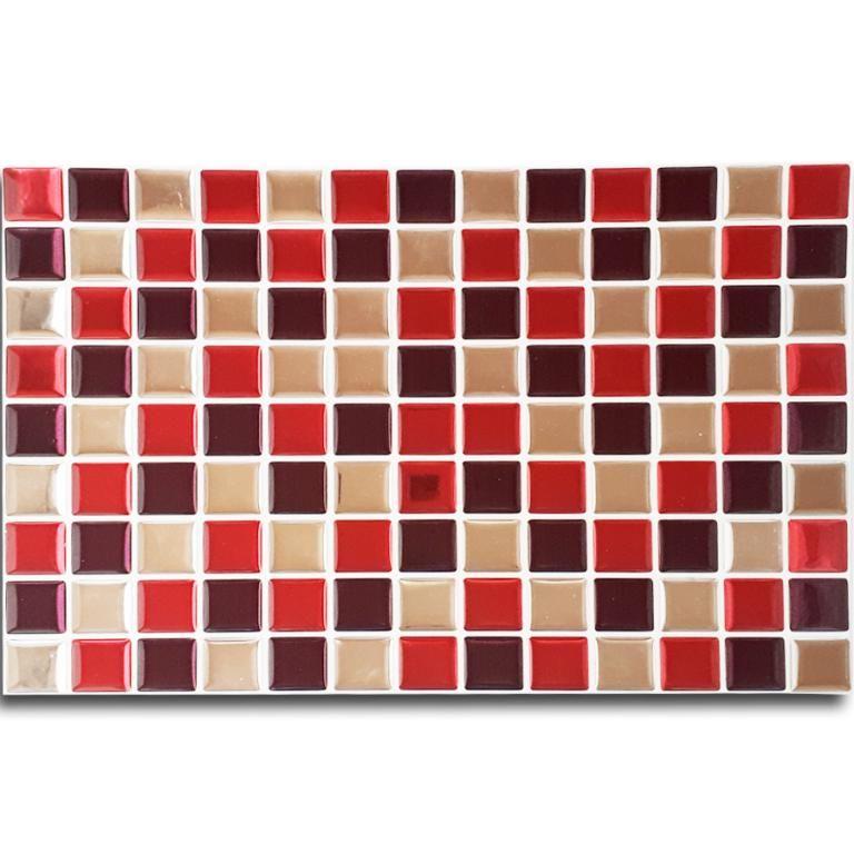 Pastilha Adesiva Mosaico Vermelho X Espelhado Fundo Branco