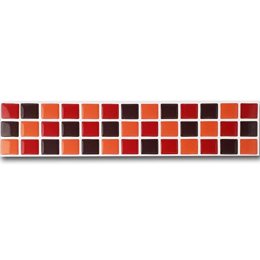 Pastilha Adesiva Resinada 6,5cm Mosaico Vermelho X Laranja X Marrom Fundo Branco
