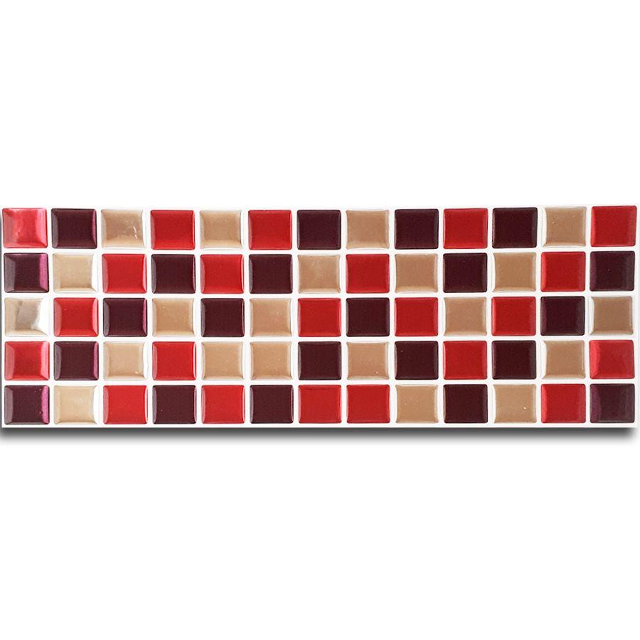 Pastilha Adesiva Resinada Faixa 11cm Mosaico Vermelho X Espelhado Fundo Branco
