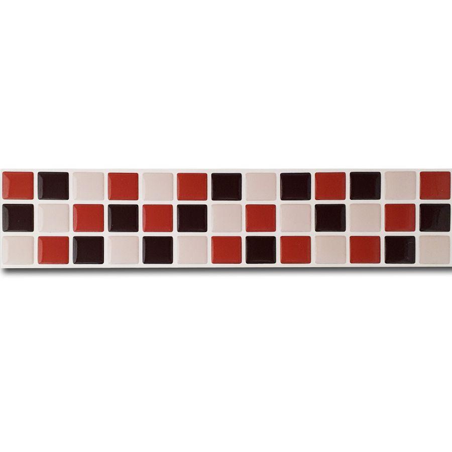 Pastilha Adesiva Resinada Faixa 6,5cm Mosaico Marrom X Bege X Laranja Fundo Branco