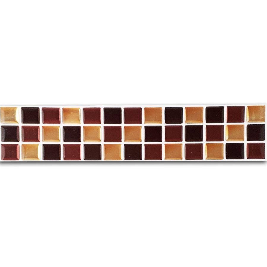 Pastilha Adesiva Resinada Faixa 6,5cm Mosaico Marrom X Dourado Fundo Branco