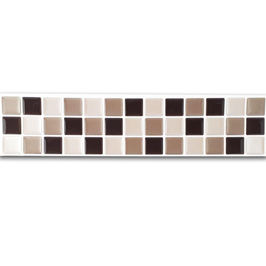Pastilha Adesiva Resinada Faixa 6,5cm Mosaico Preto X Cinza X Aço Escovado Fundo Branco