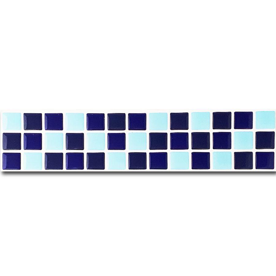 Pastilha Adesiva Resinada Faixa 6,5cm Mosaico Tons de Azuis Fundo Branco