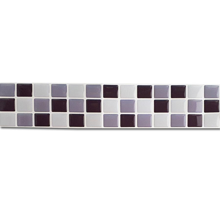 Pastilha Adesiva Resinada Faixa 6,5cm Mosaico Tons De Cinza Fundo Branco