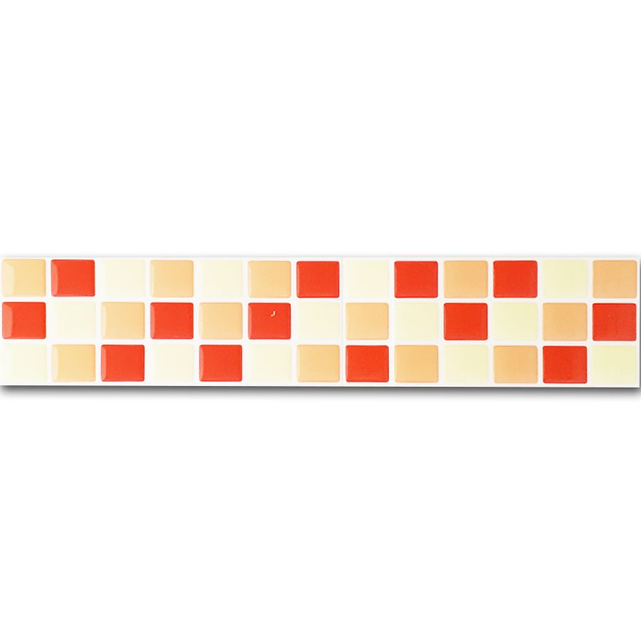 Pastilha Adesiva Resinada Faixa 6,5cm Mosaico Tons De Laranja Fundo Branco