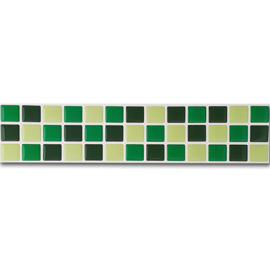 Pastilha Adesiva Resinada Faixa 6,5cm Mosaico Tons De Verde Fundo Branco