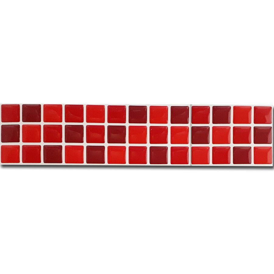 Pastilha Adesiva Resinada Faixa 6,5cm Mosaico Tons Vermelhos Com Fundo Branco