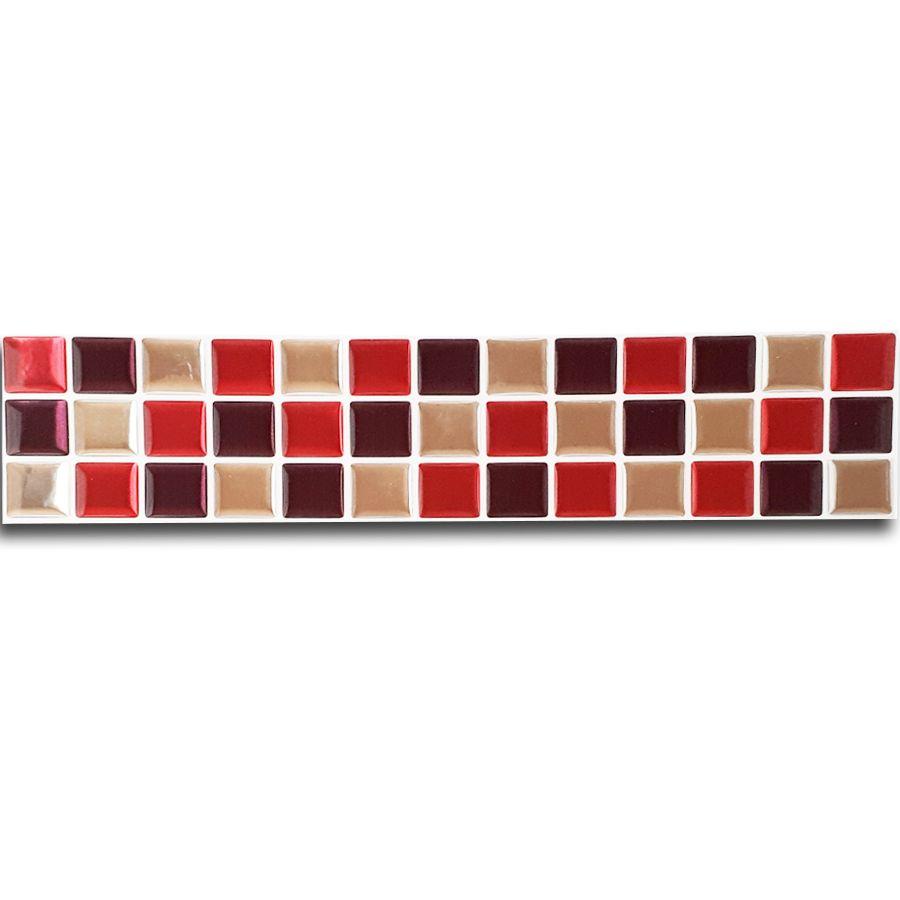 Pastilha Adesiva Resinada Faixa 6,5cm Mosaico Vermelho X Espelhado Fundo Branco