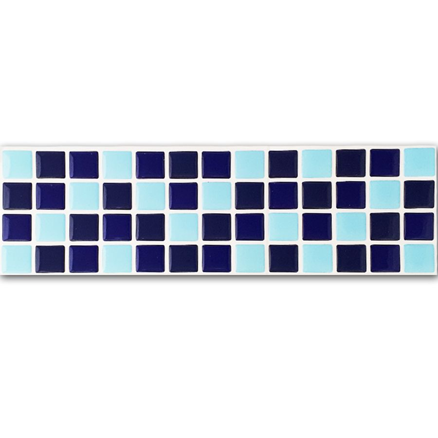 Pastilha Adesiva Resinada Faixa 8,8cm Mosaico Tons De Azuis Fundo Branco