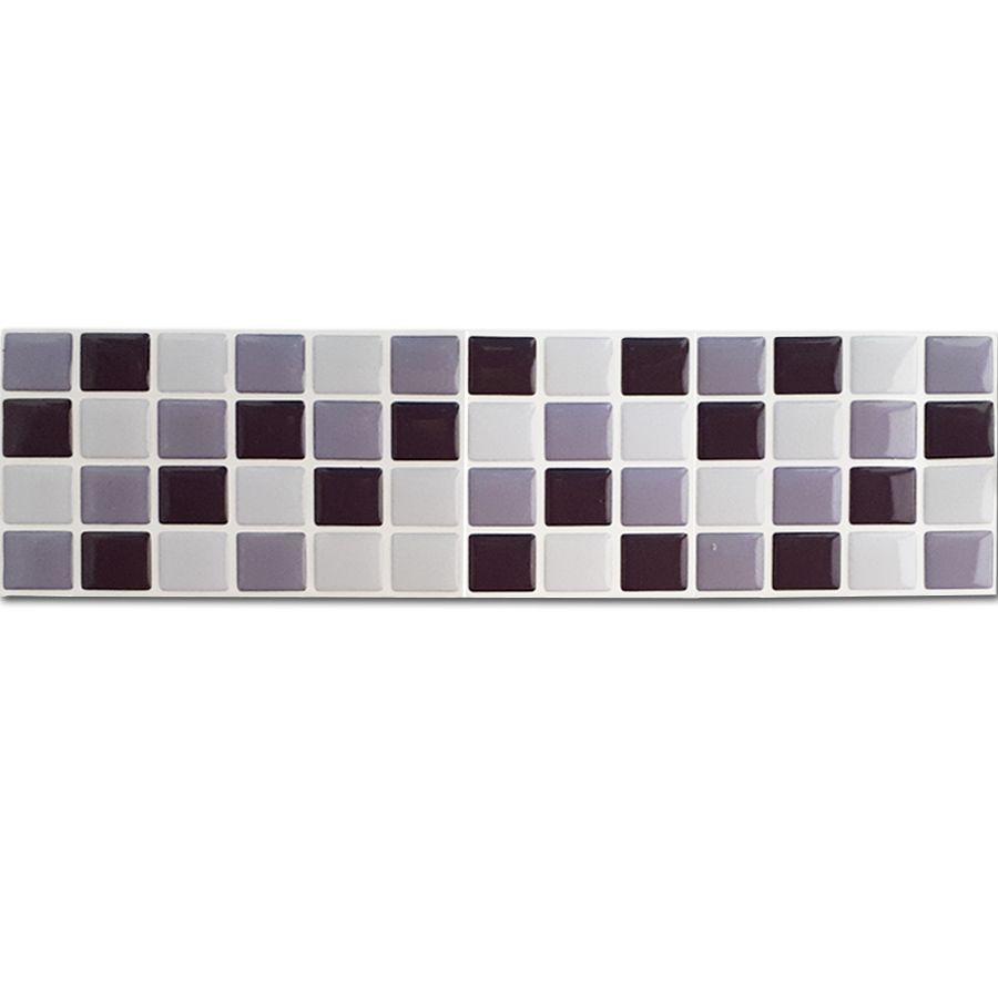 Pastilha Adesiva Resinada Faixa 8,8cm Mosaico Tons De Cinza Fundo Branco