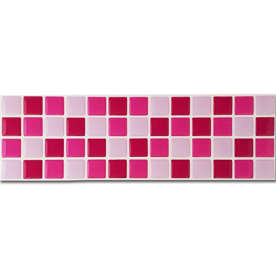 Pastilha Adesiva Resinada Faixa 8,8cm Mosaico Tons De Rosa Fundo Branco