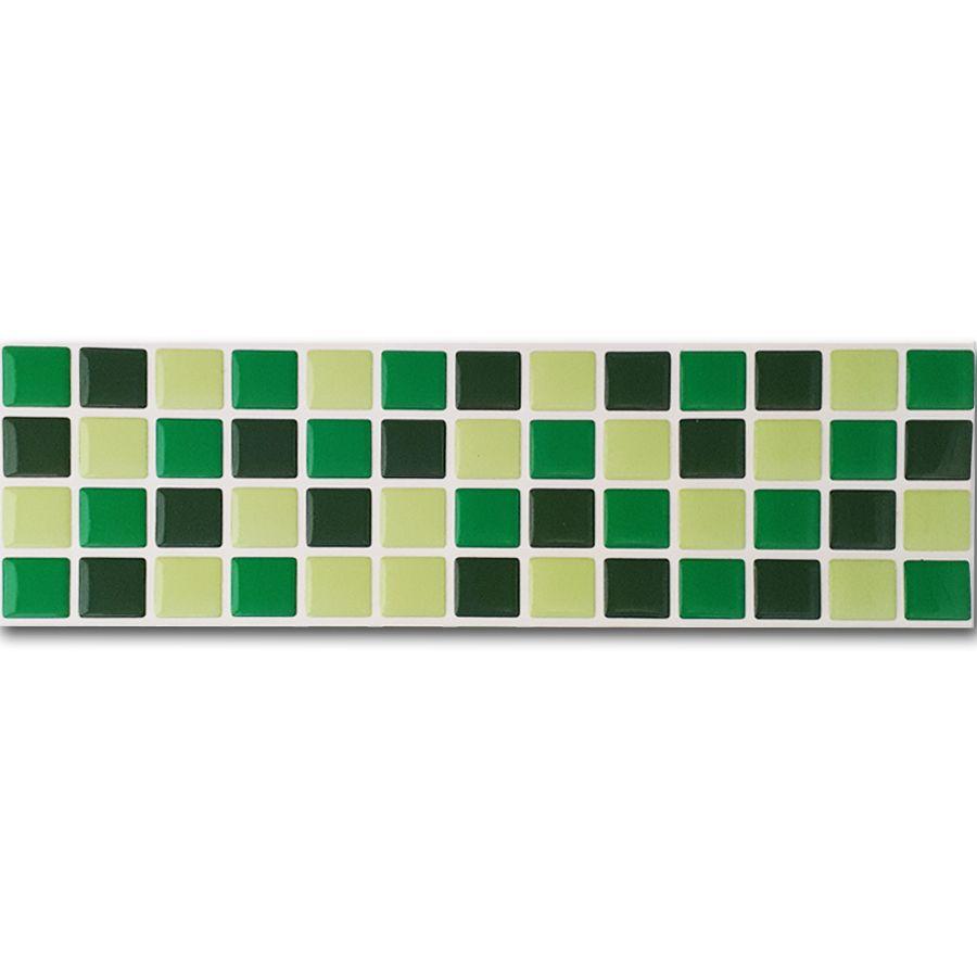 Pastilha Adesiva Resinada Faixa 8,8cm Mosaico Tons De Verdes Fundo Branco