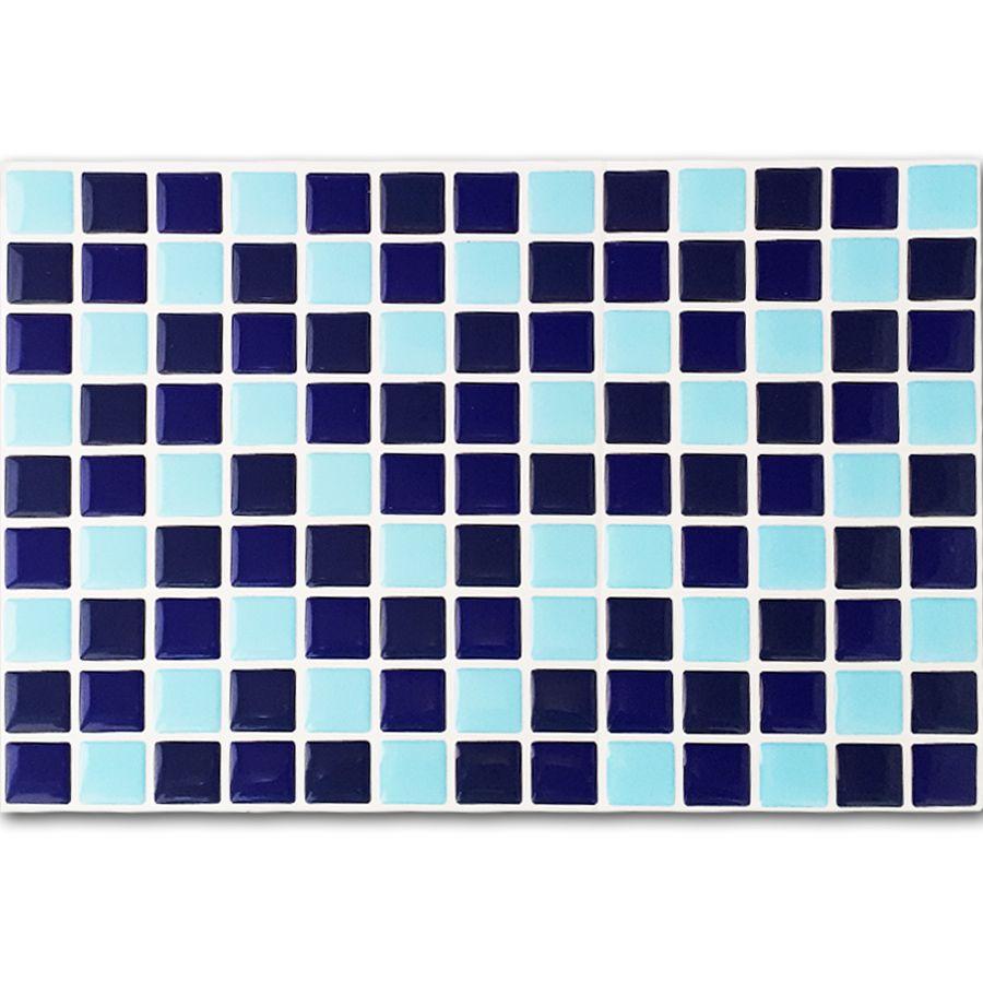 Pastilha Adesiva Resinada Mosaico Azul Noturno X Azul Escuro X Azul Claro Fundo Branco