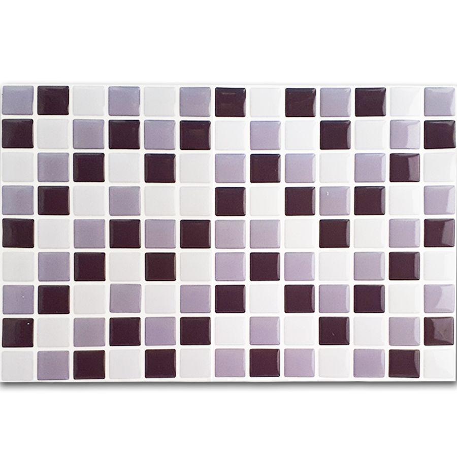 Pastilha Adesiva Resinada Mosaico Cinza Escuro X Cinza Claro Fundo Branco