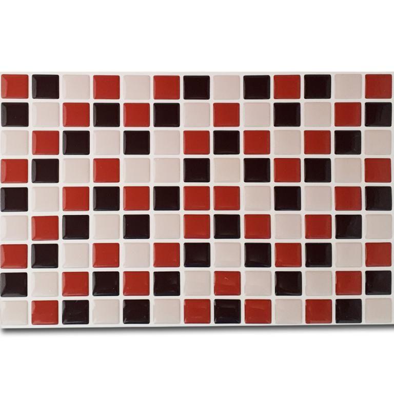 Pastilha Adesiva Resinada Mosaico Marrom X Bege X Laranja Fundo Branco