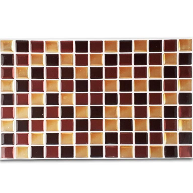 Pastilha Adesiva Resinada Mosaico Marrom X Dourado Fundo Branco