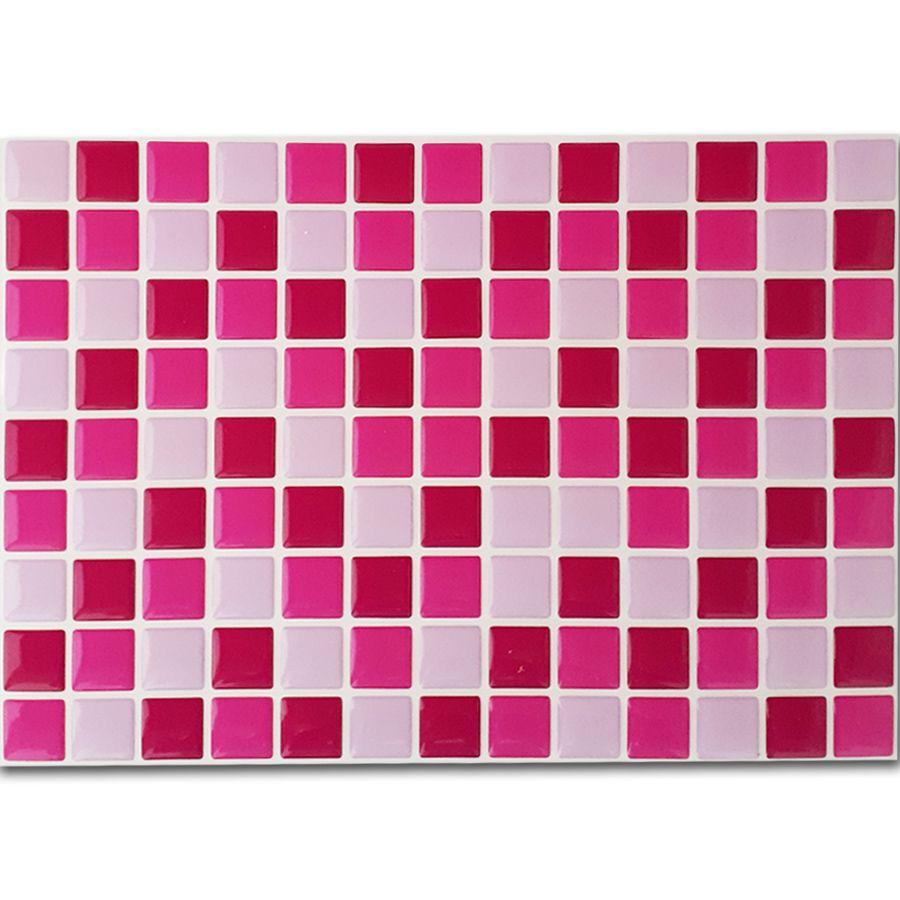 Pastilha Adesiva Resinada Mosaico Pink X Rosa X Rosa Claro Fundo Branco