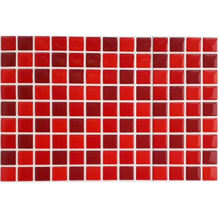 Pastilha Adesiva Resinada Mosaico Tons De Vermelho Com Fundo Branco
