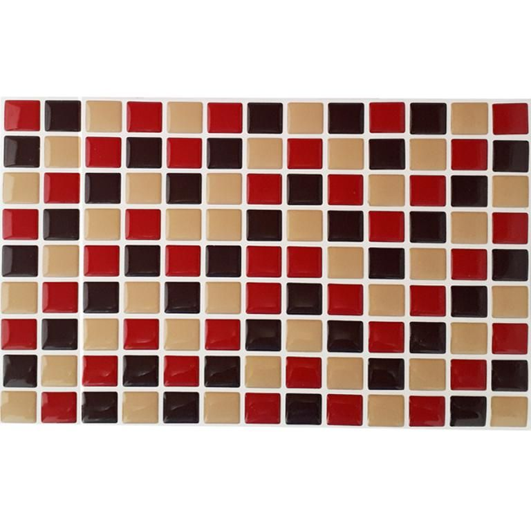 Pastilha Adesiva Resinada Mosaico Vermelho X Bege X Marrom Fundo Branco