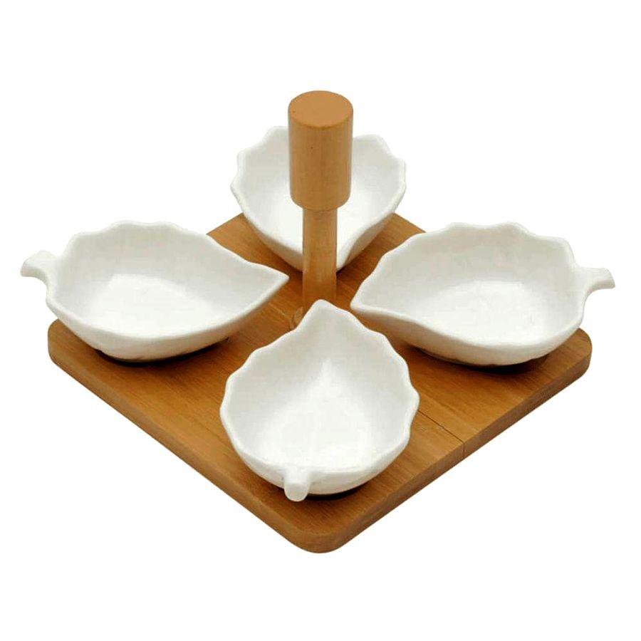 Petisqueira de Porcelana 4 Divisórias Com Suporte De Bamboo