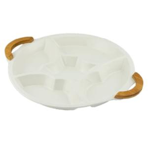 Petisqueira de Porcelana Branca 5 Divisórias Com Alça De Bambu