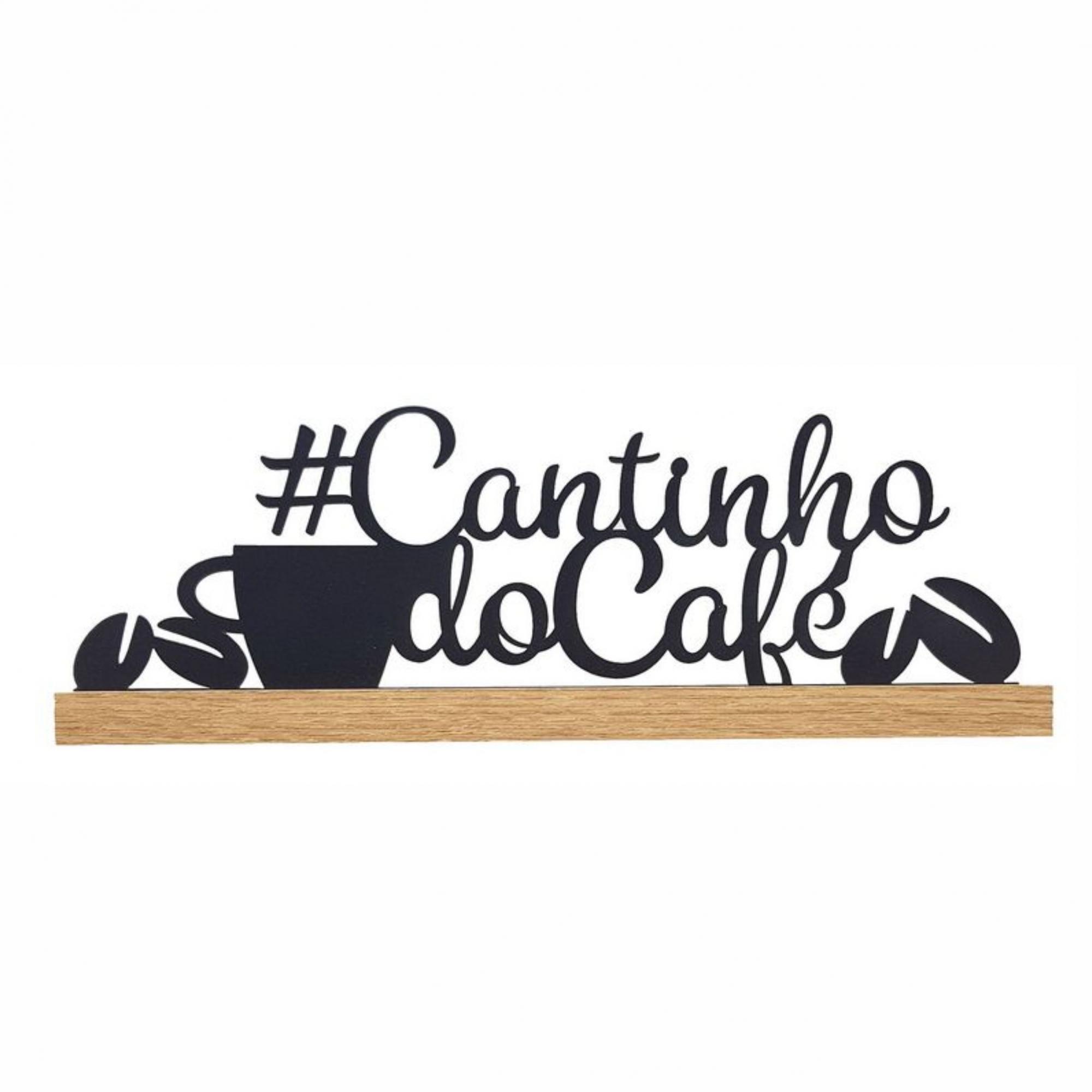 Placa Cantinho do Café em Ferro e Madeira 10x34cm