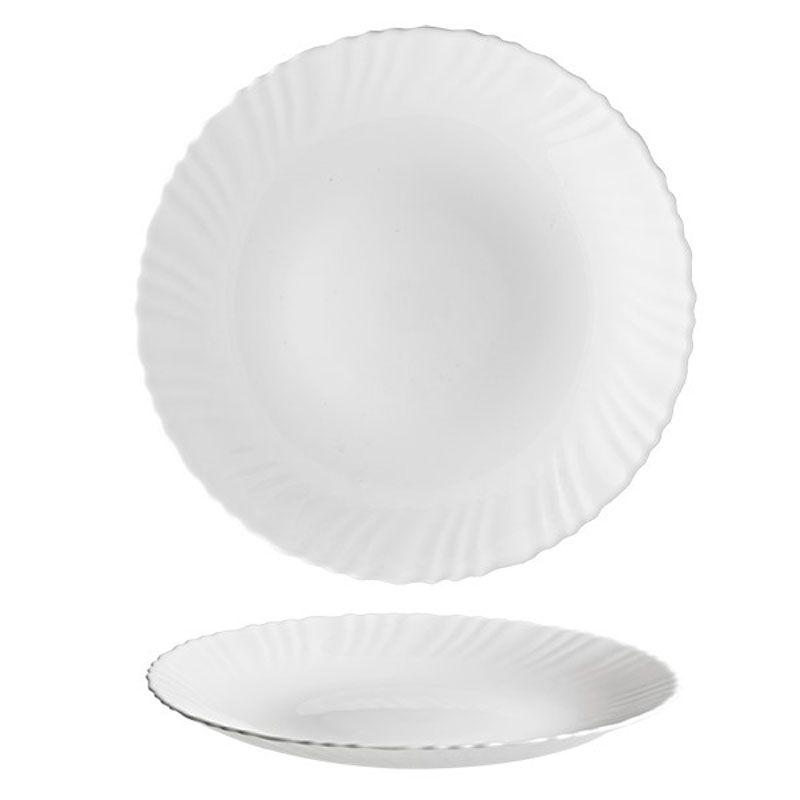 Prato Raso Branco com Detalhes 27cm Unitário