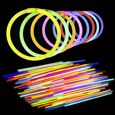 Pulseira Neon Brilha no Escuro Tubo 100 Unidades para Festas