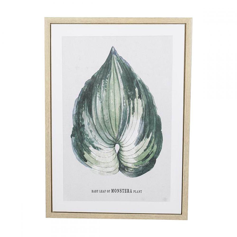 Quadro Decorativo Folhagem com Impressão em Tela e Moldura em Madeira Natural