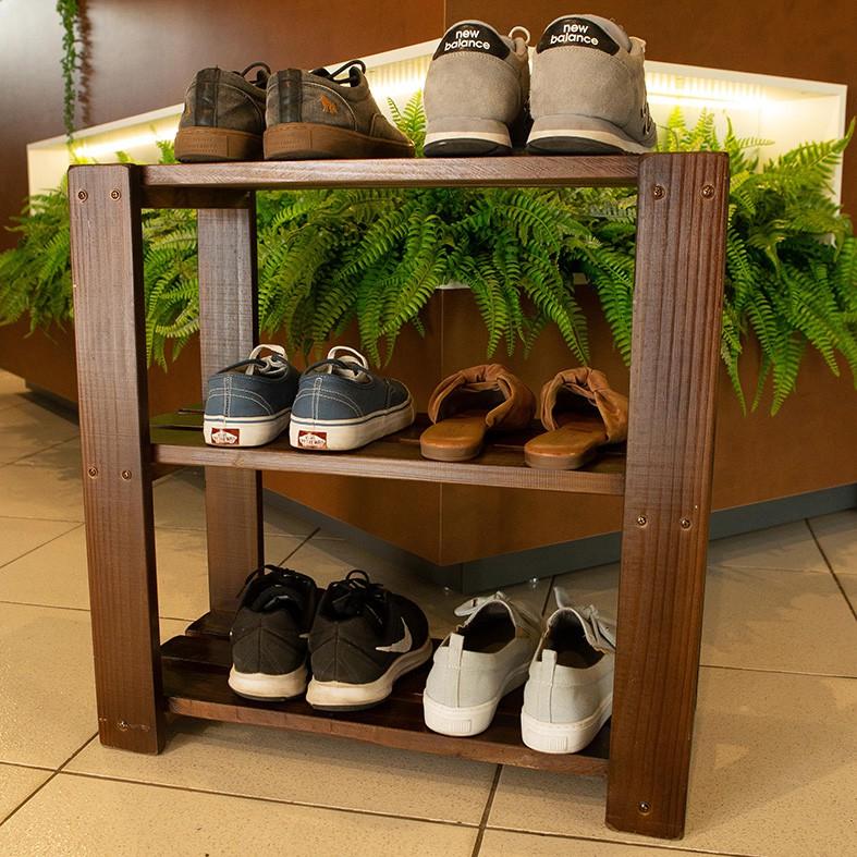 Sapateira Organizador de Sapatos 3 Andares  p/ Porta de Casa em Madeira Imbuia