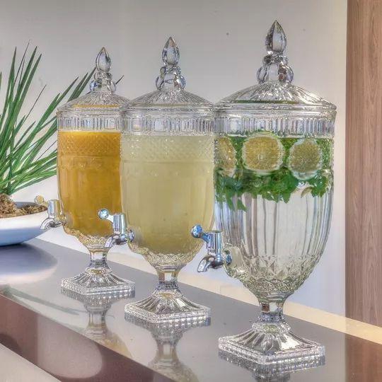 Suqueiras Dispenser Água Saborizada 4,0L Cristal Wolff Kit com 2 Unidades
