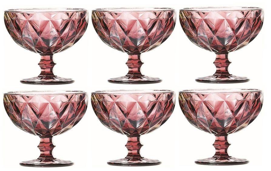 Taça de Sobremesa Coquetel Kit com 6 Diamante Lilás 300ml
