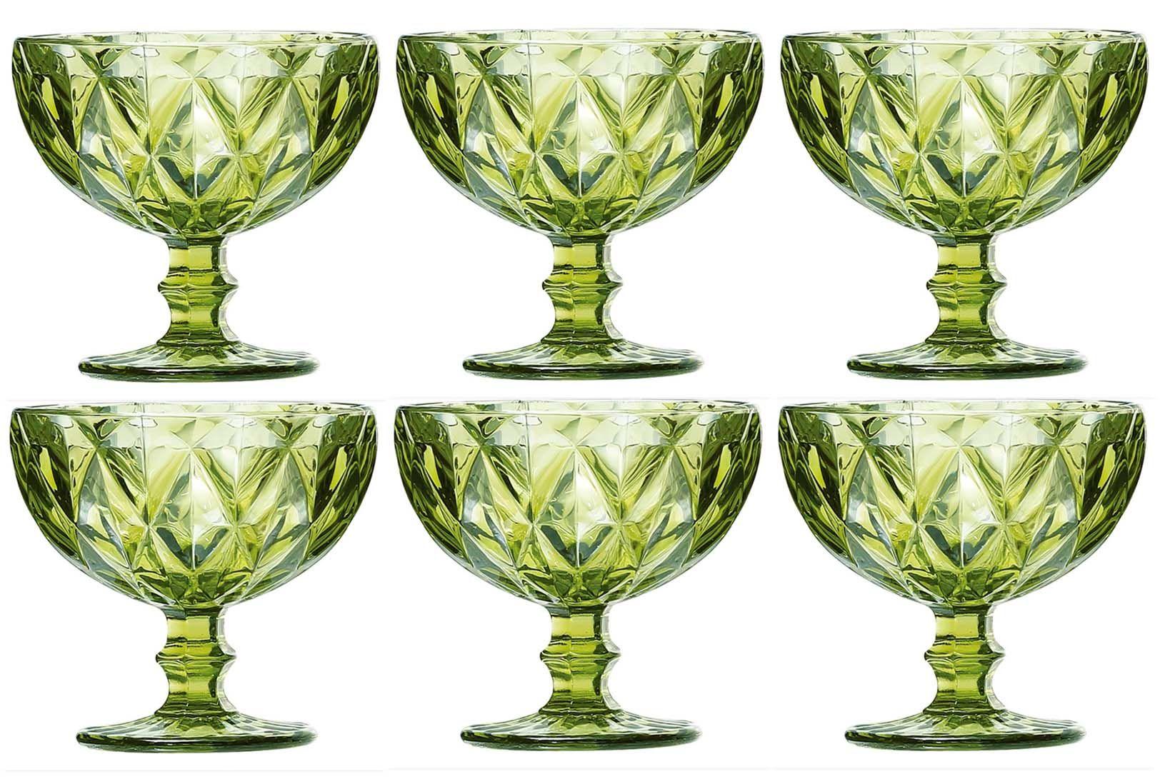 Taça de Sobremesa Coquetel Kit com 6 Diamante Verde 300ml
