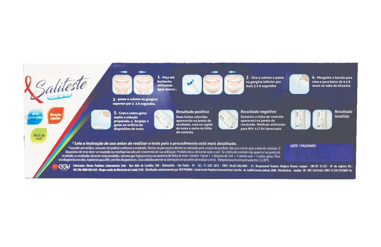 Teste de HIV Oral Saliteste Diagnóstico EGV-Pharma