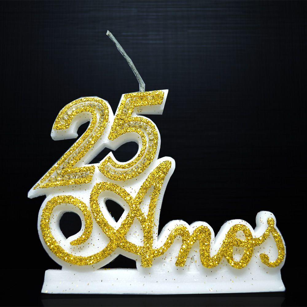 Vela P/ Festa Aniversário 25 Anos Bodas de Prata Casamento Dourada Strass