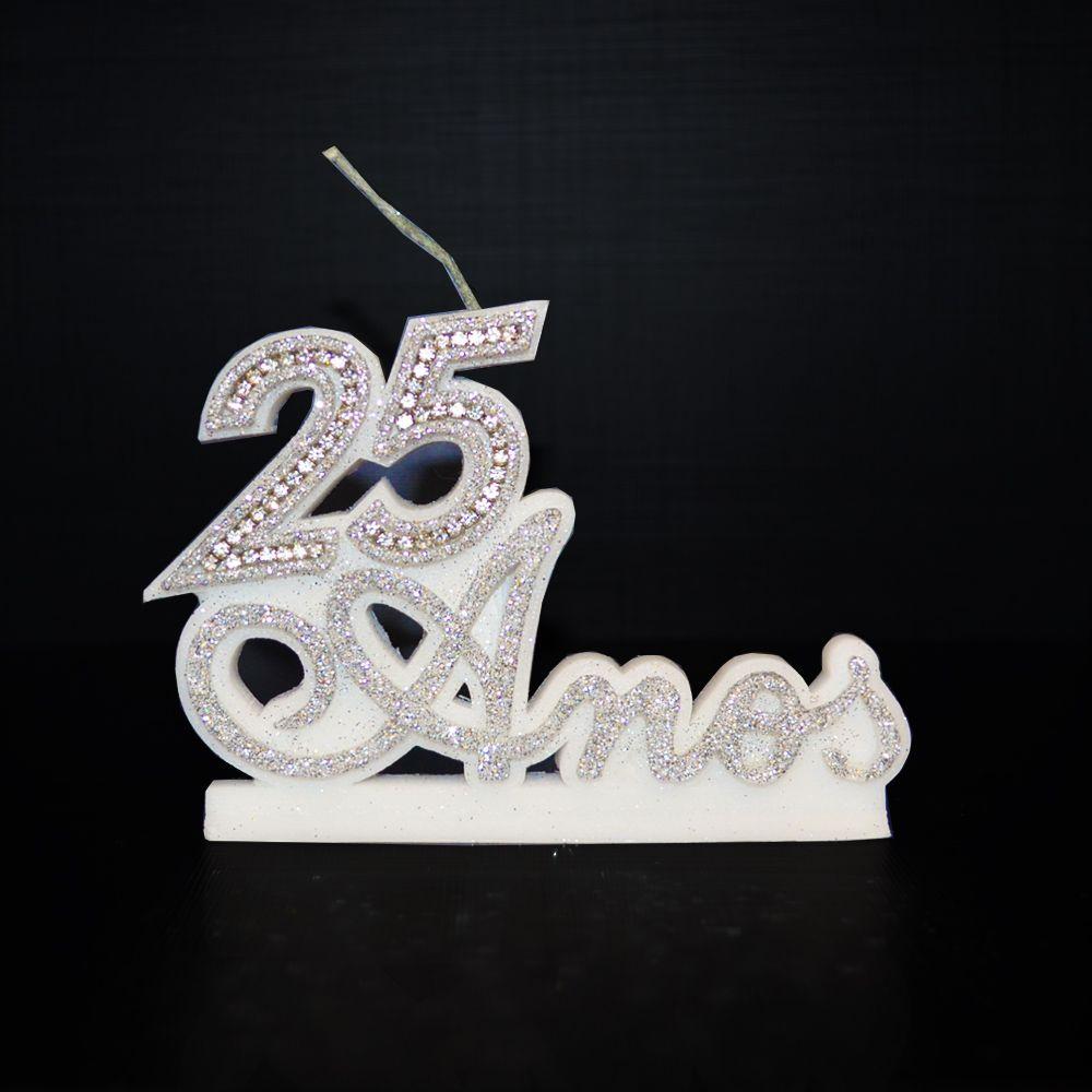 Vela P/ Festa Aniversário 25 Anos Bodas de Prata Casamento Prata Strass