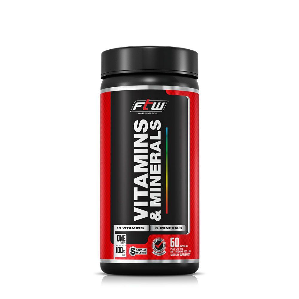 Vitamins E Minerals 100% IDR com 60 Cápsulas FTW