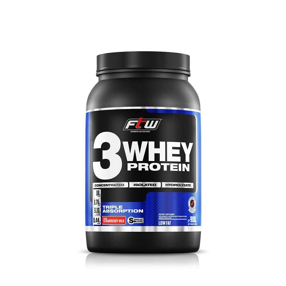 Whey 3 Protein Morango 900g FTW
