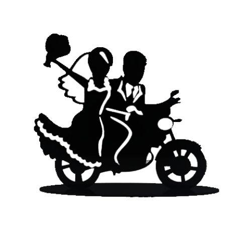 Topo em acrílico Noivos na moto