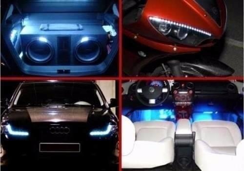 1 Fita Tira Led  Adesivo Tuning Carro Moto Flexivel 30cm