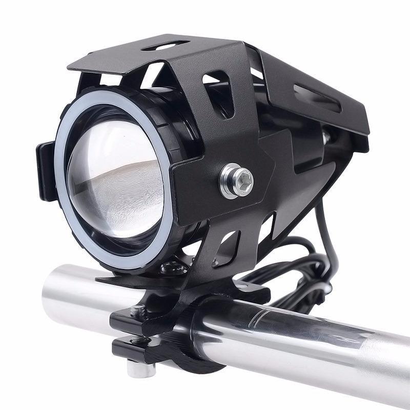 1 Farol Moto Projetor Angel Eyes Led U7 Universal Branco  A Prova D'água