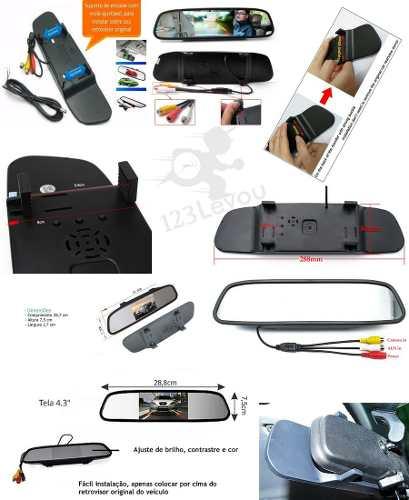 Kit Estacionamento Sensor de Ré e Camera e Ré Prata + Retrovisor Lcd