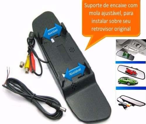 Kit Estacionamento Sensor de Ré e Camera e Ré Preta + Retrovisor Lcd