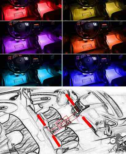 Kit 4 Barra Super Led Rgb + Sensor Musical + Controle Remoto