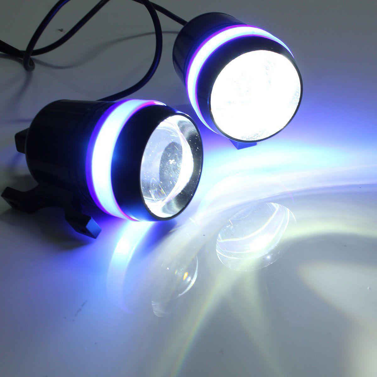 2 Farol Milha Projetor U3 lâmpada led angel Azul Strobo Moto