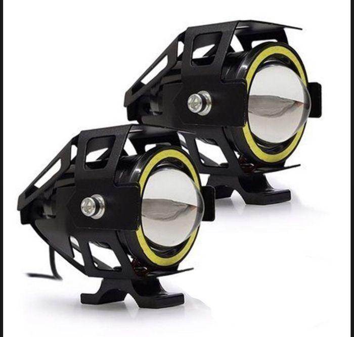 2 Farol Moto Projetor Angel Eyes Led U7 Universal Branco  A Prova D'água