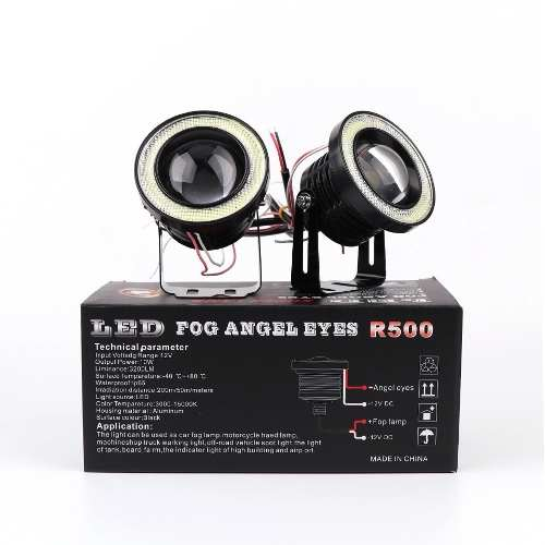 Kit Par Farol Milha Led C/ Angel Eyes Auxiliar Drl Tipo 89mm